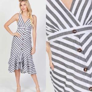 Gray & White Stripe Dress by Davi & Dani